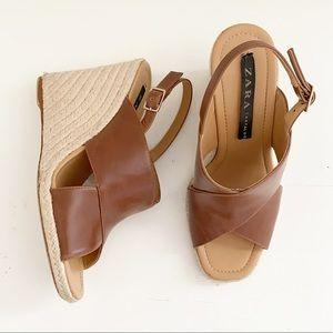Zara espadrille square toe wedge platform